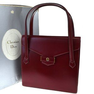 Christian Dior CD Logo Tote Hand Bag Leather Red G